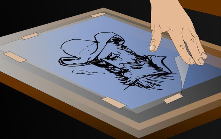 Chụp bản in lụa bằng keo gelatine